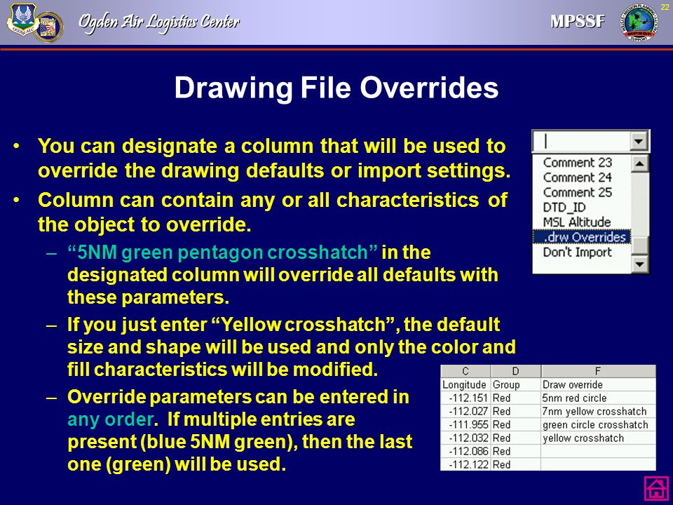 Drawing File Overrides