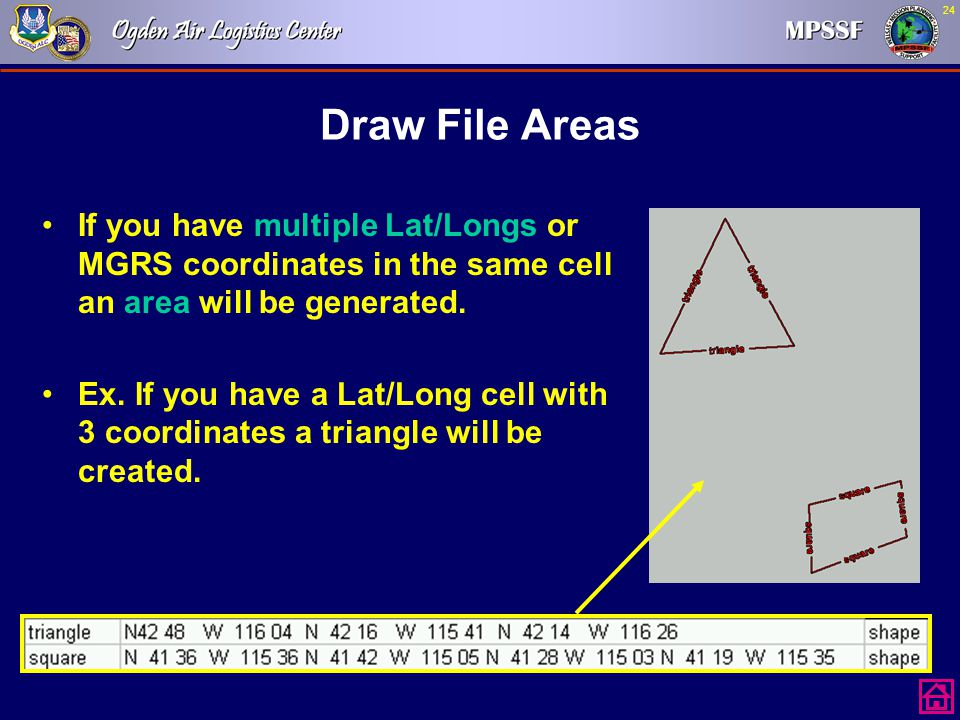 Draw File Areas If you have multiple Lat/Longs or MGRS coordinates in the same cell an area will be generated.