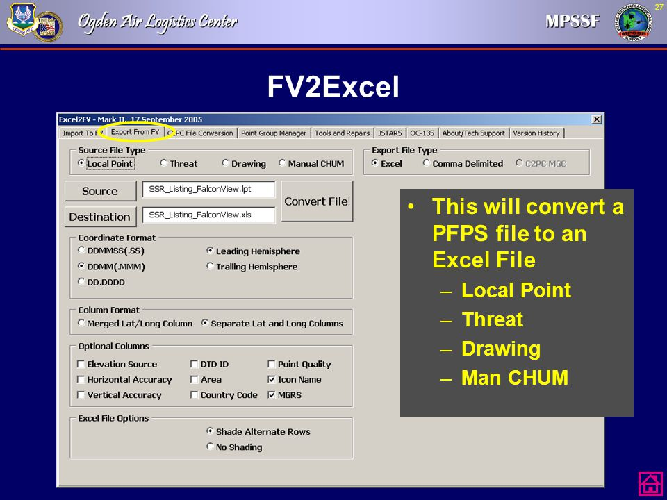 FV2Excel This will convert a PFPS file to an Excel File Local Point