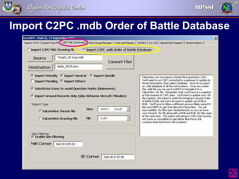 Import C2PC .mdb Order of Battle Database