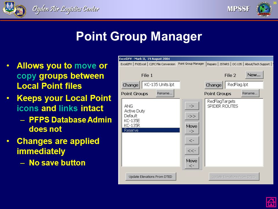 Point Group Manager Allows you to move or copy groups between Local Point files. Keeps your Local Point icons and links intact.