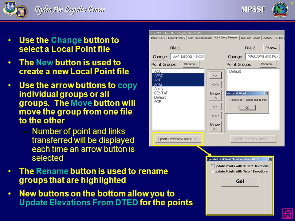 Use the Change button to select a Local Point file