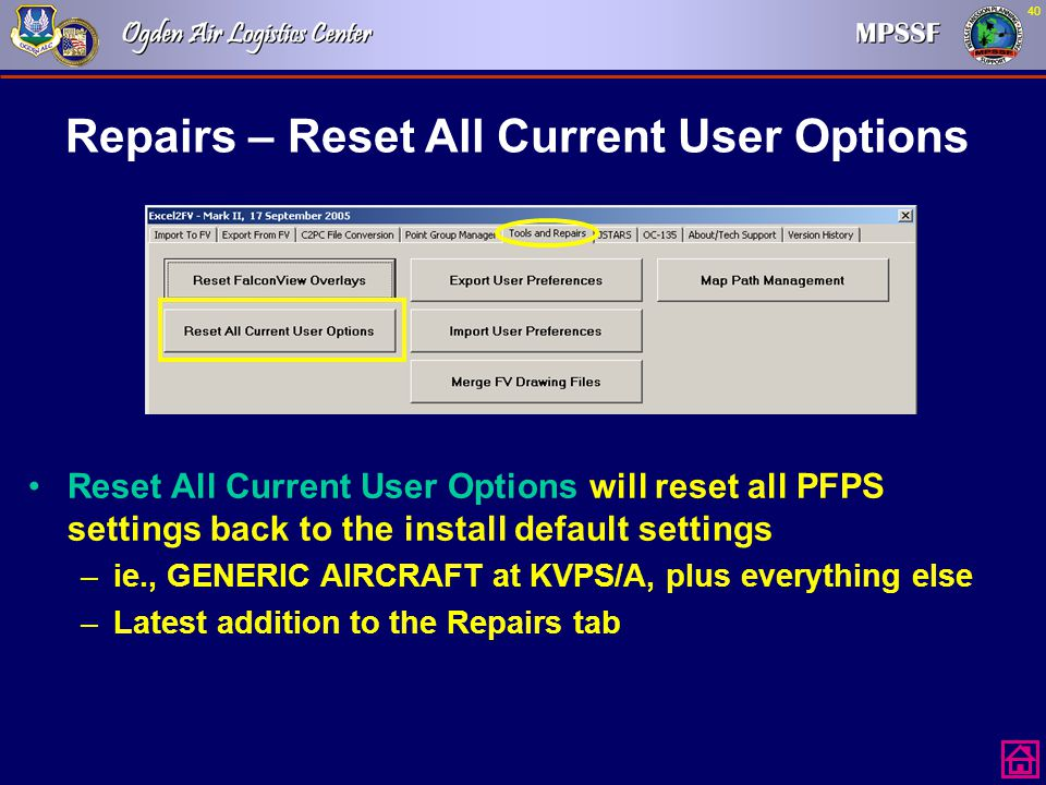 Repairs – Reset All Current User Options