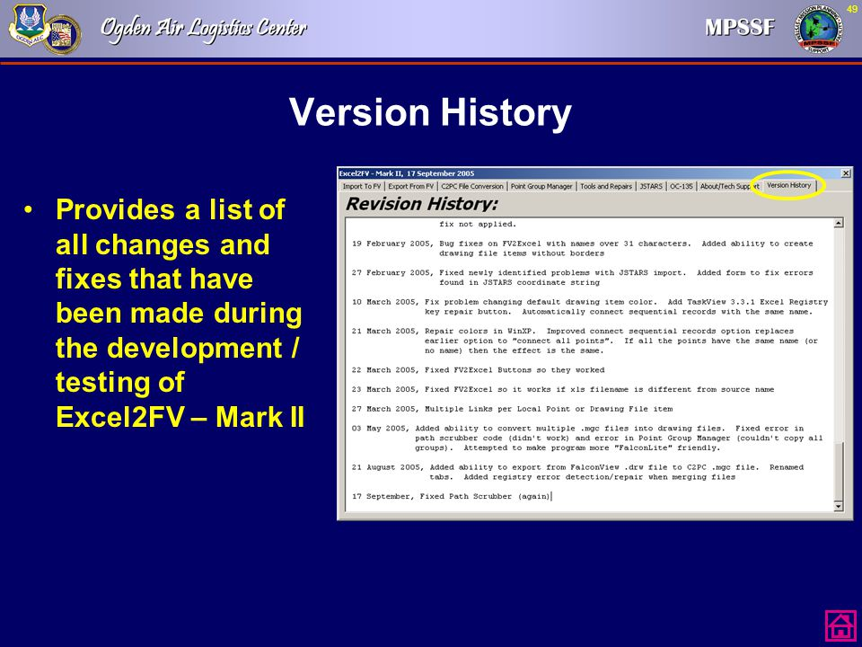 Version History Provides a list of all changes and fixes that have been made during the development / testing of Excel2FV – Mark II.