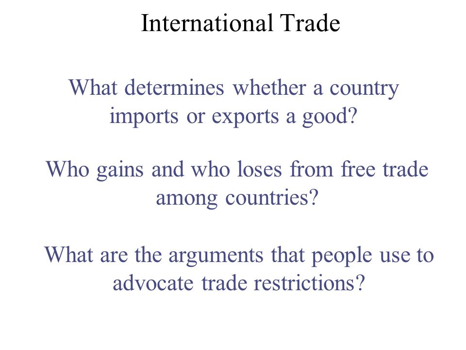 What determines whether a country imports or exports a good