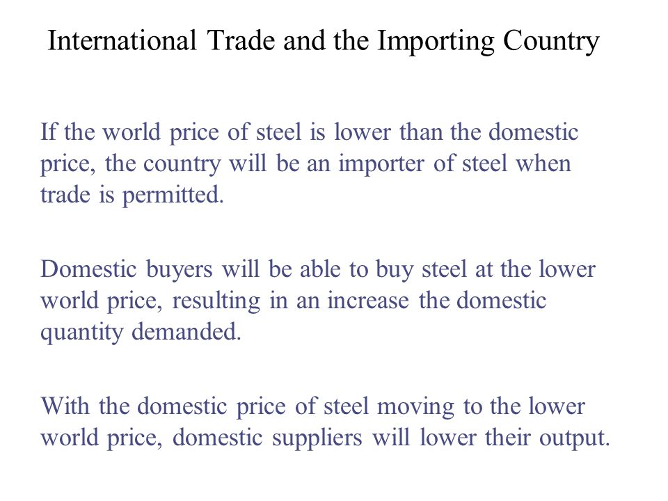 International Trade and the Importing Country