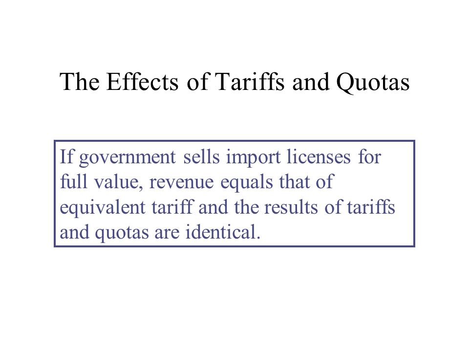 The Effects of Tariffs and Quotas