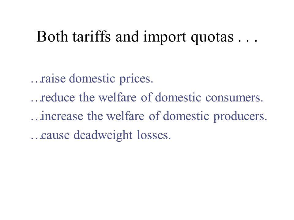 Both tariffs and import quotas . . .