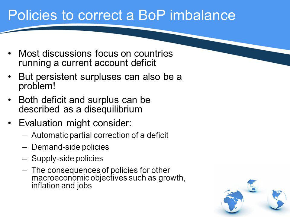 Policies to correct a BoP imbalance