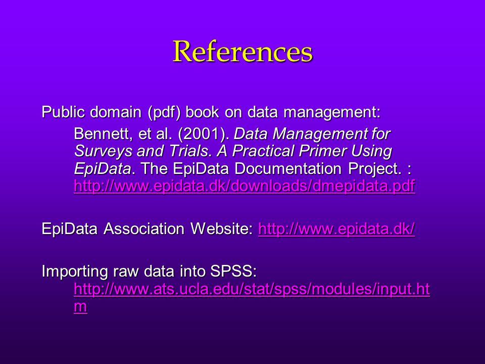 References Public domain (pdf) book on data management:
