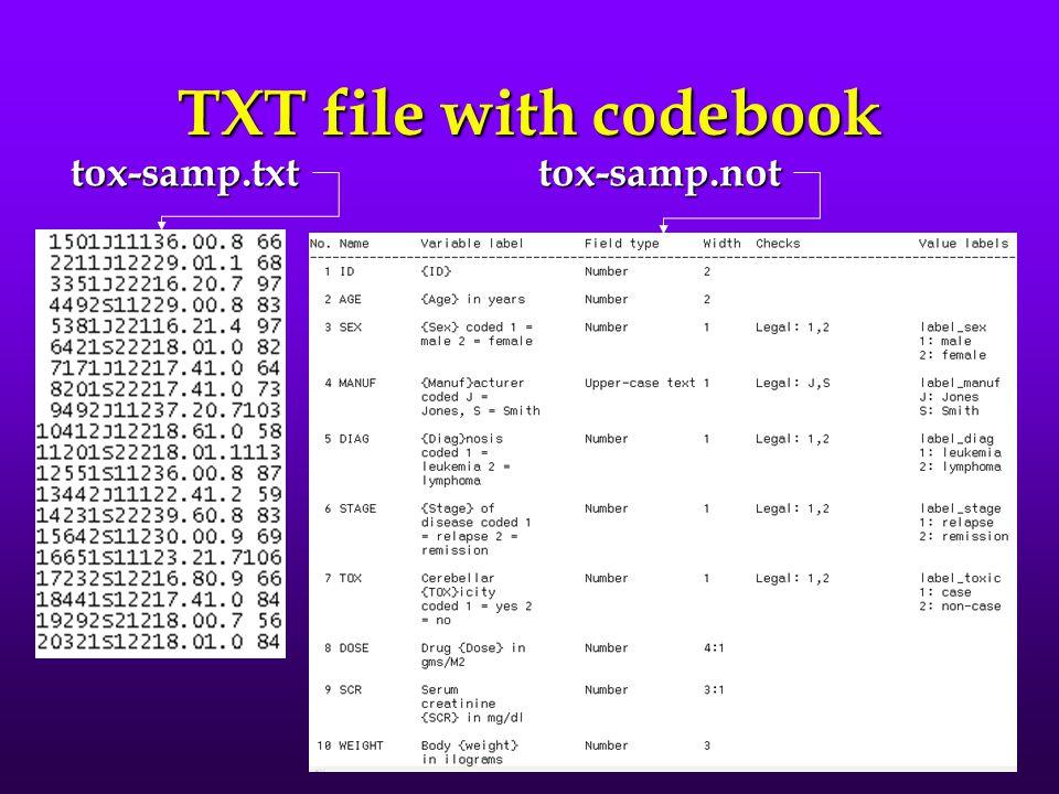 TXT file with codebook tox-samp.txt tox-samp.not