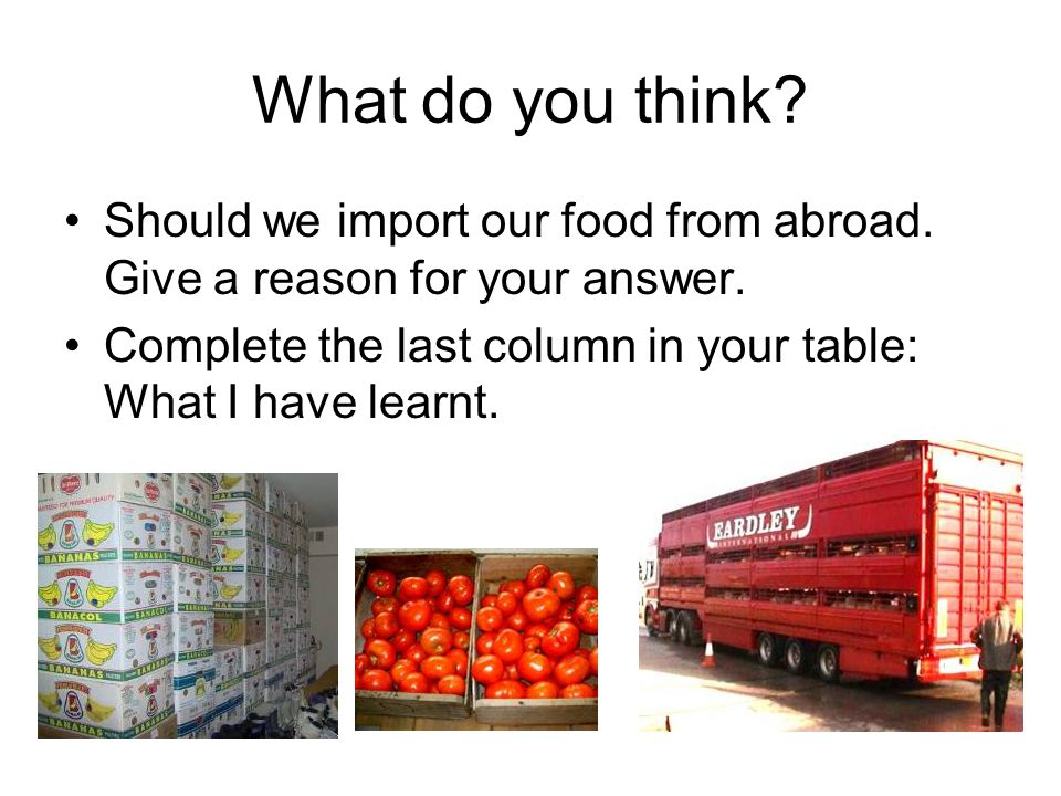 What do you think. Should we import our food from abroad.