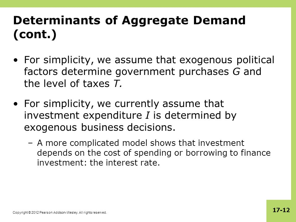 Determinants of Aggregate Demand (cont.)