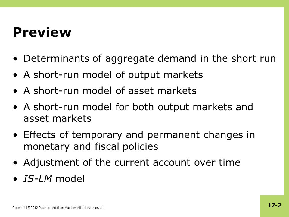 Preview Determinants of aggregate demand in the short run