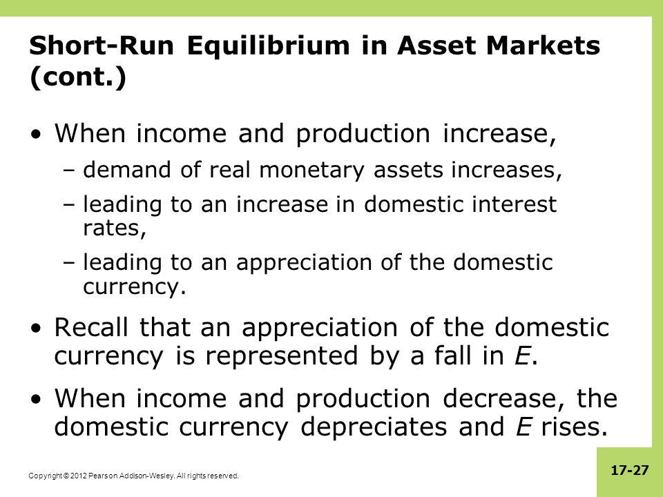 Short-Run Equilibrium in Asset Markets (cont.)