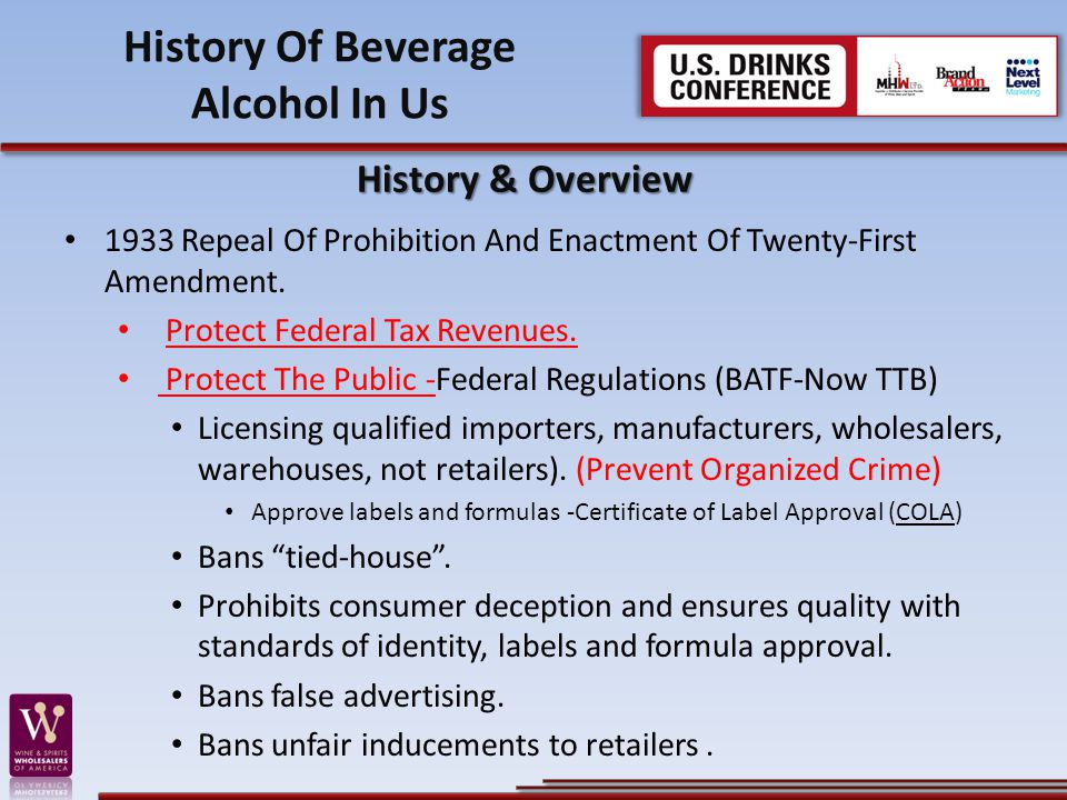 History Of Beverage Alcohol In Us
