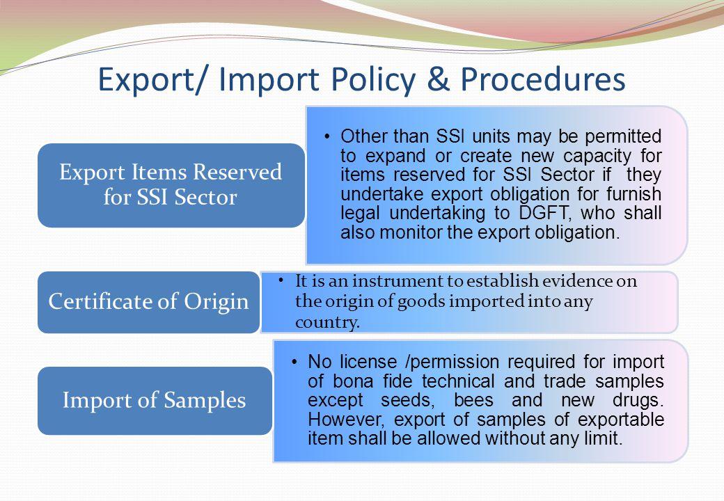 Export/ Import Policy & Procedures