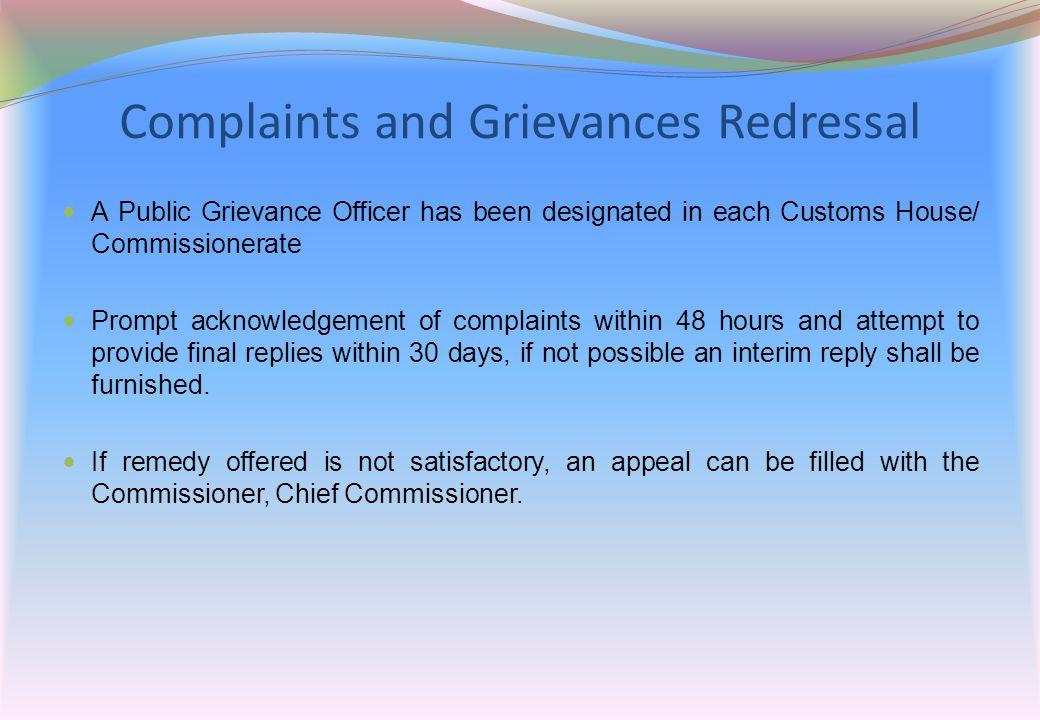 Complaints and Grievances Redressal