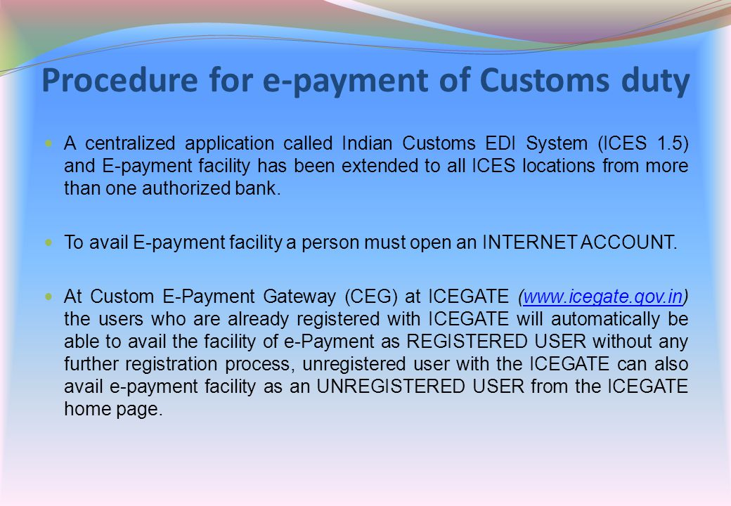 Procedure for e-payment of Customs duty