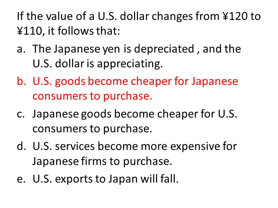 If the value of a U.S. dollar changes from ¥120 to ¥110, it follows that: