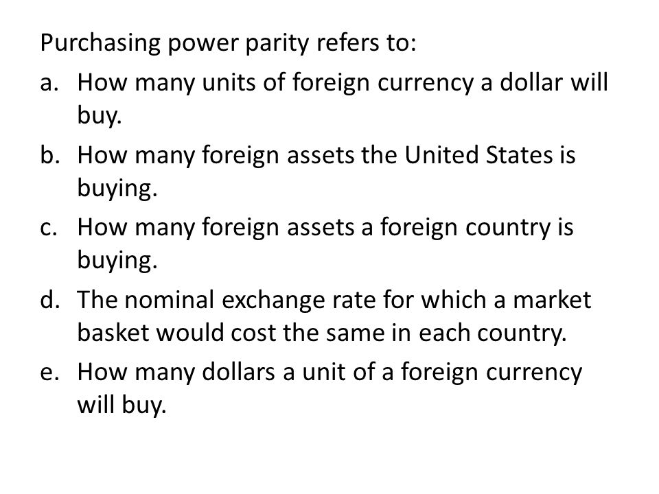 Purchasing power parity refers to: