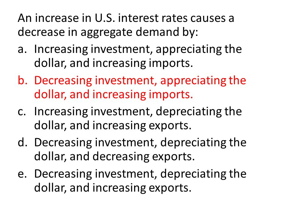 An increase in U.S. interest rates causes a decrease in aggregate demand by: