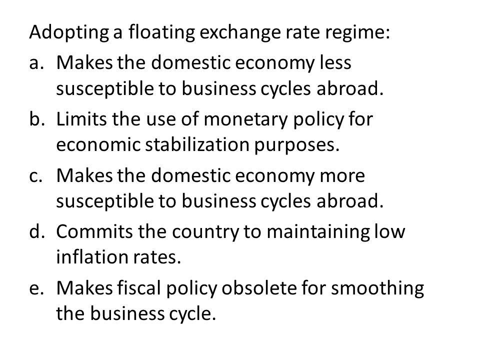 Adopting a floating exchange rate regime: