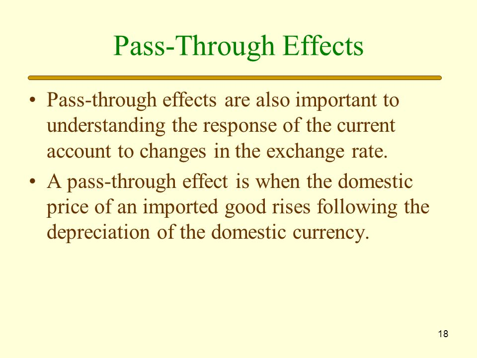 Pass-Through Effects Pass-through effects are also important to understanding the response of the current account to changes in the exchange rate.