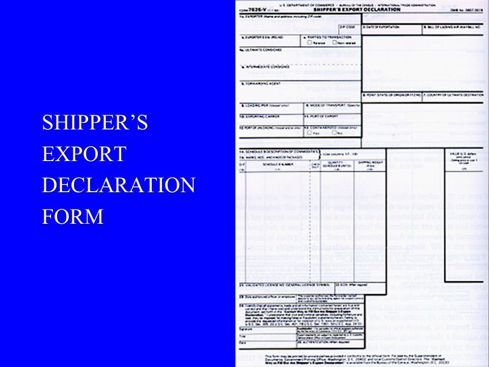 SHIPPER'S EXPORT DECLARATION FORM