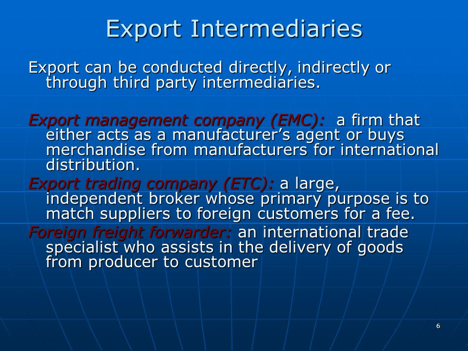 Export Intermediaries