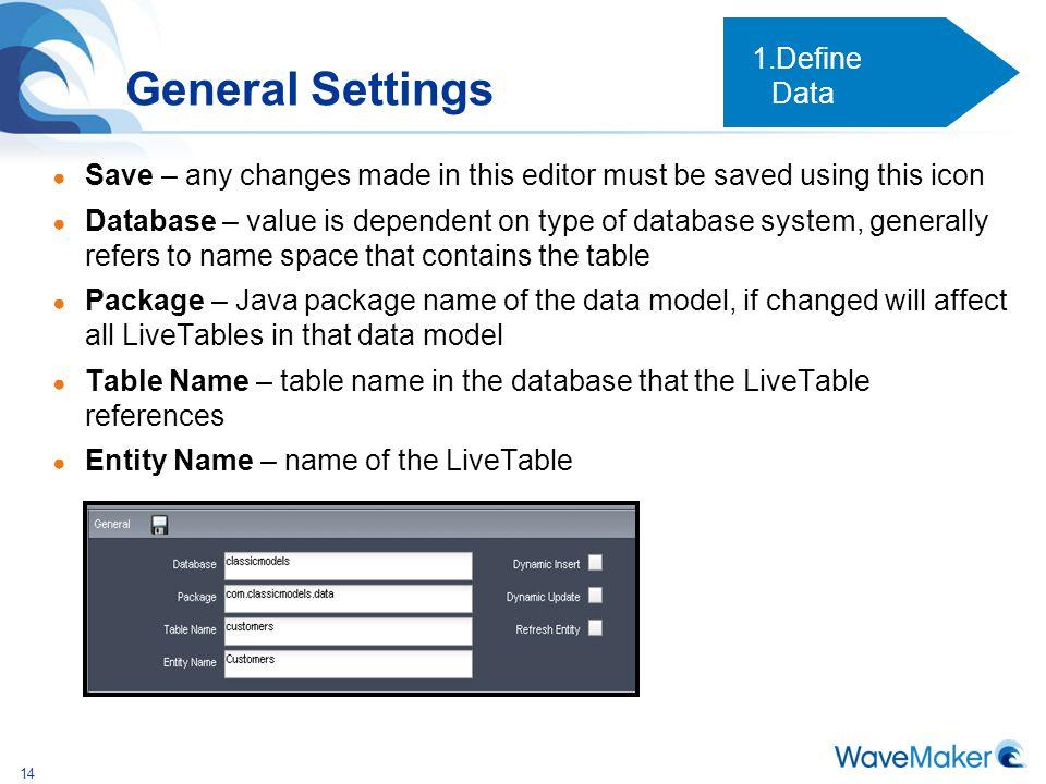 General Settings Define Data