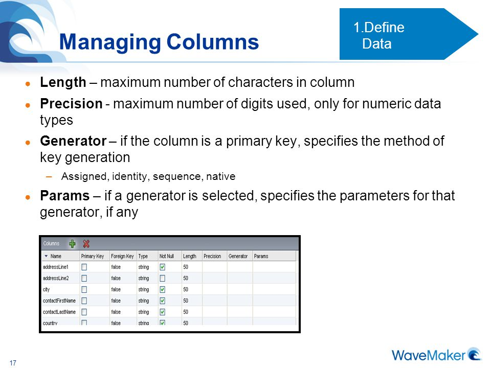 Managing Columns Define Data