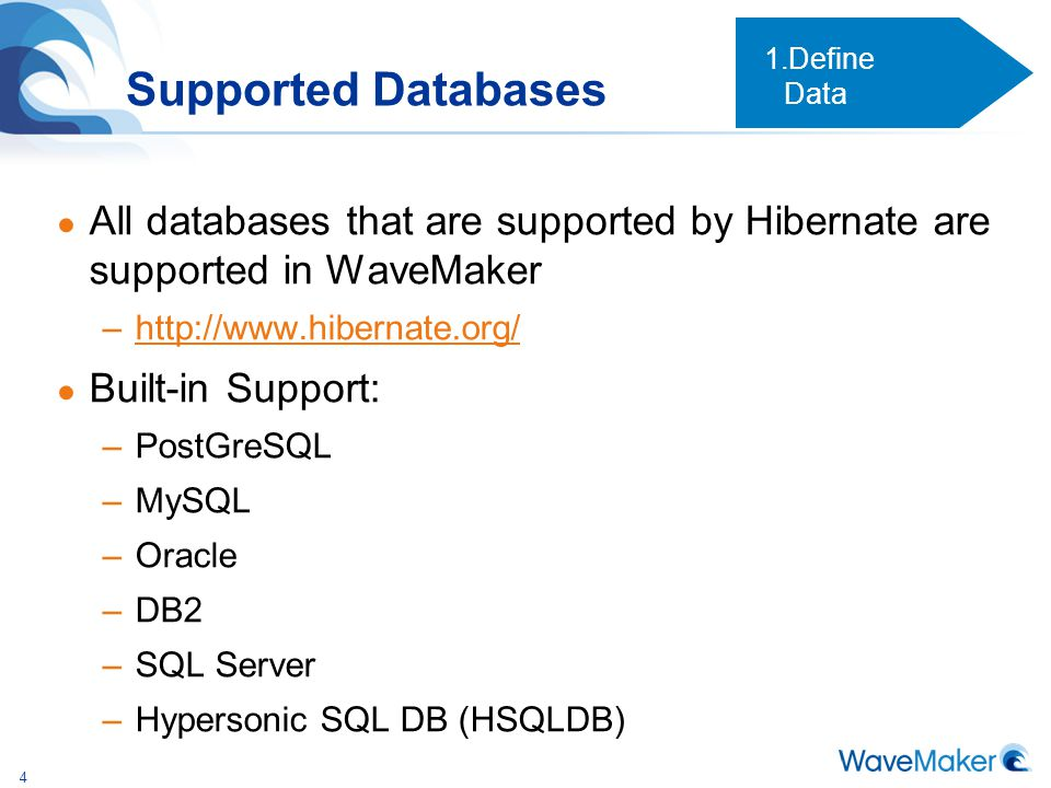 Define Data Supported Databases. All databases that are supported by Hibernate are supported in WaveMaker.