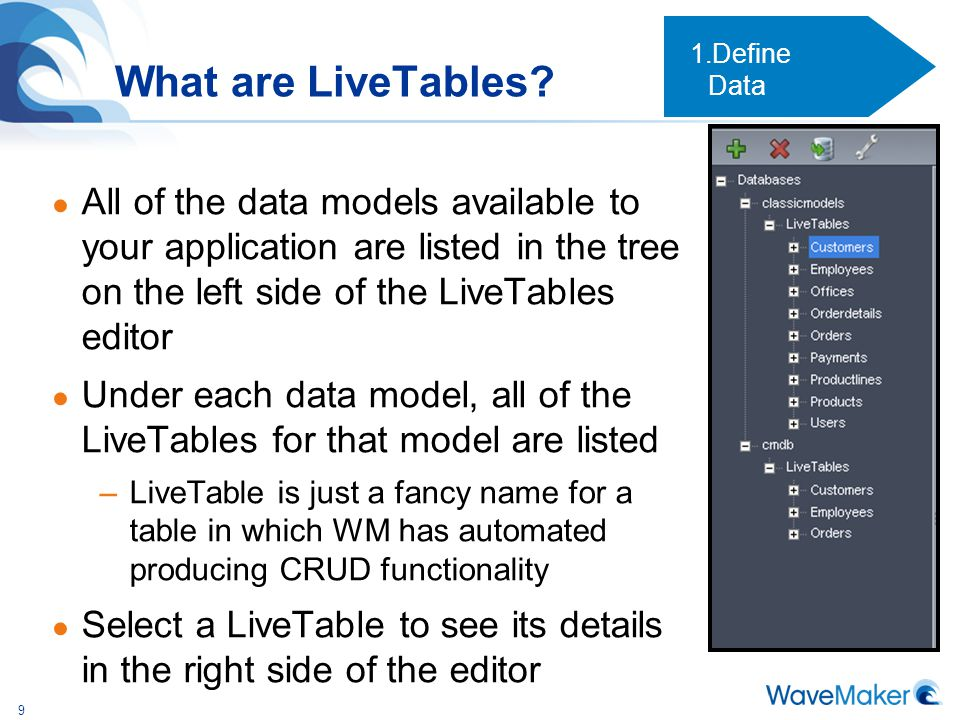 Define Data What are LiveTables