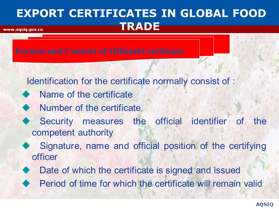 EXPORT CERTIFICATES IN GLOBAL FOOD TRADE