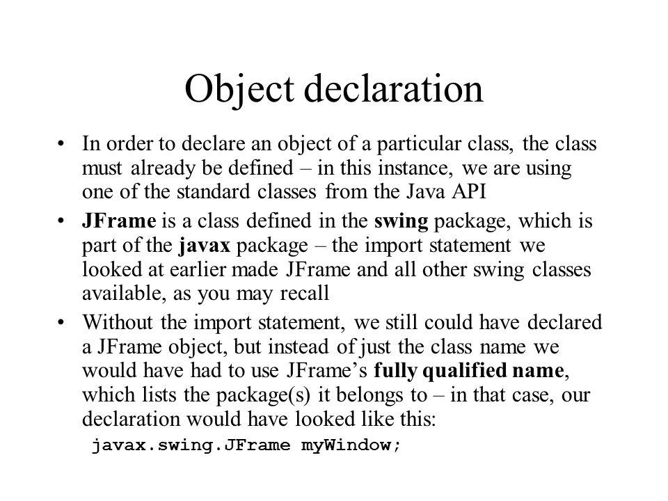 Object declaration