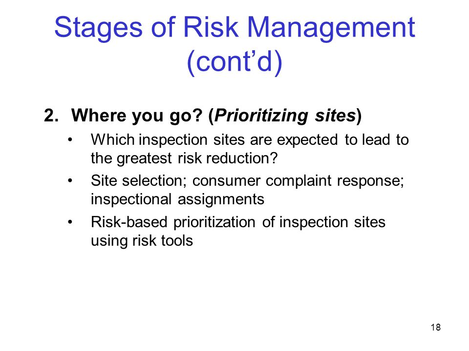 Stages of Risk Management (cont'd)