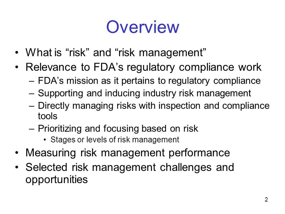 Overview What is risk and risk management