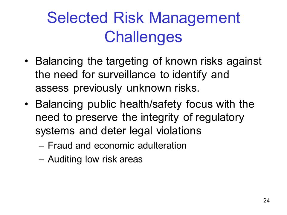 Selected Risk Management Challenges
