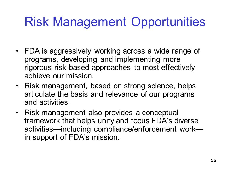 Risk Management Opportunities