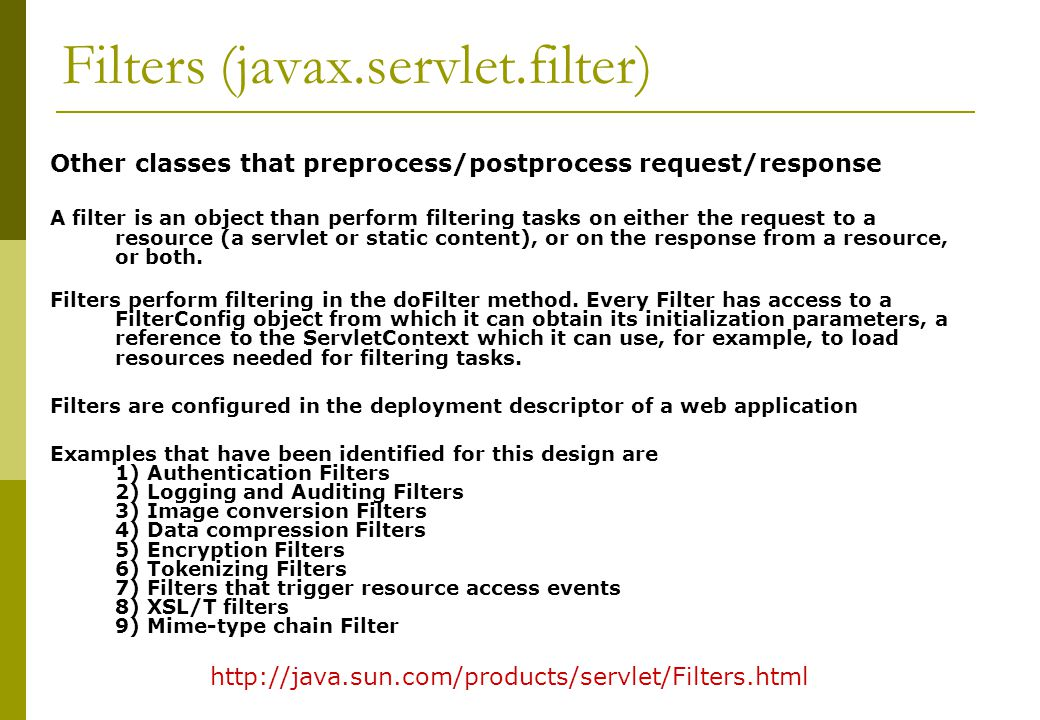 Filters (javax.servlet.filter)