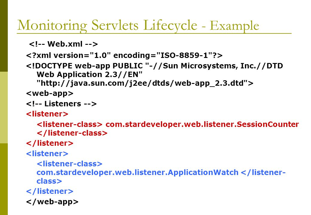 Monitoring Servlets Lifecycle - Example