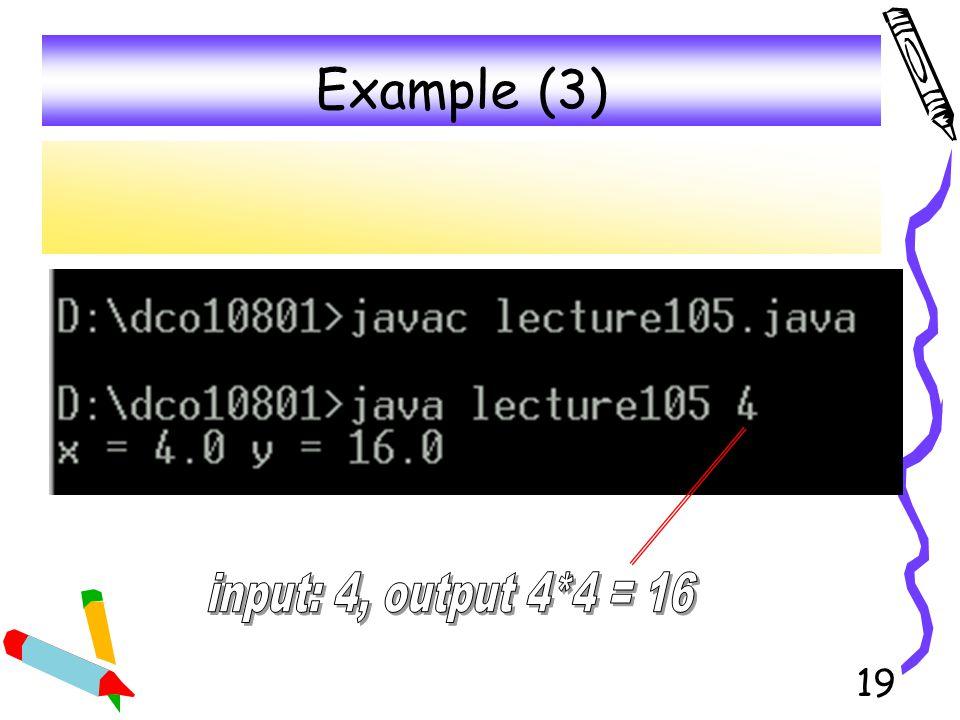 Example (3) input: 4, output 4*4 = 16