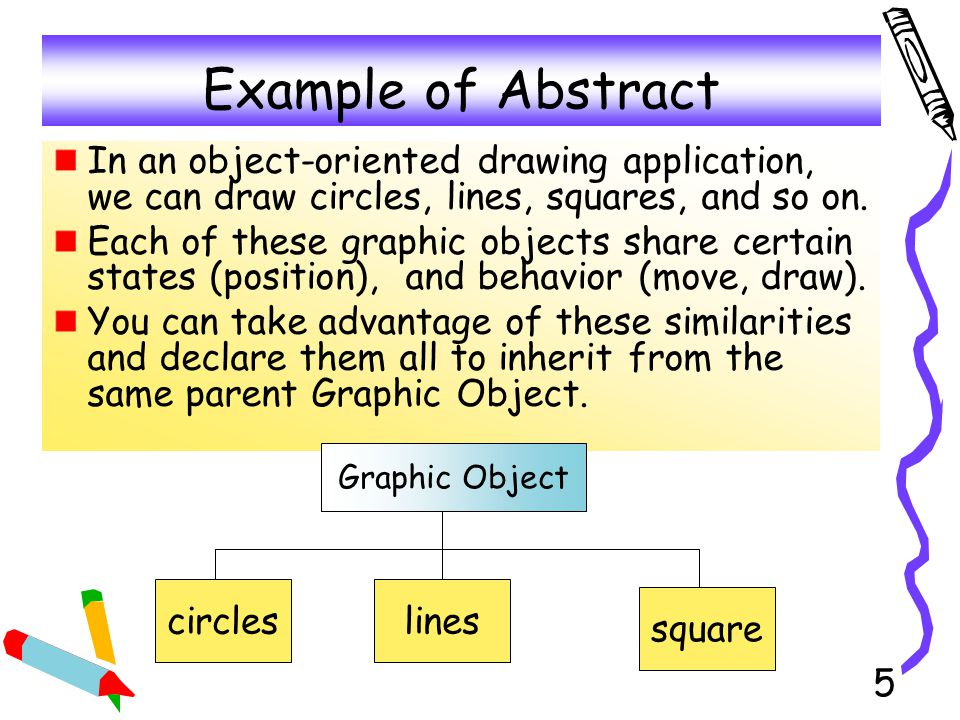 Example of Abstract In an object-oriented drawing application, we can draw circles, lines, squares, and so on.