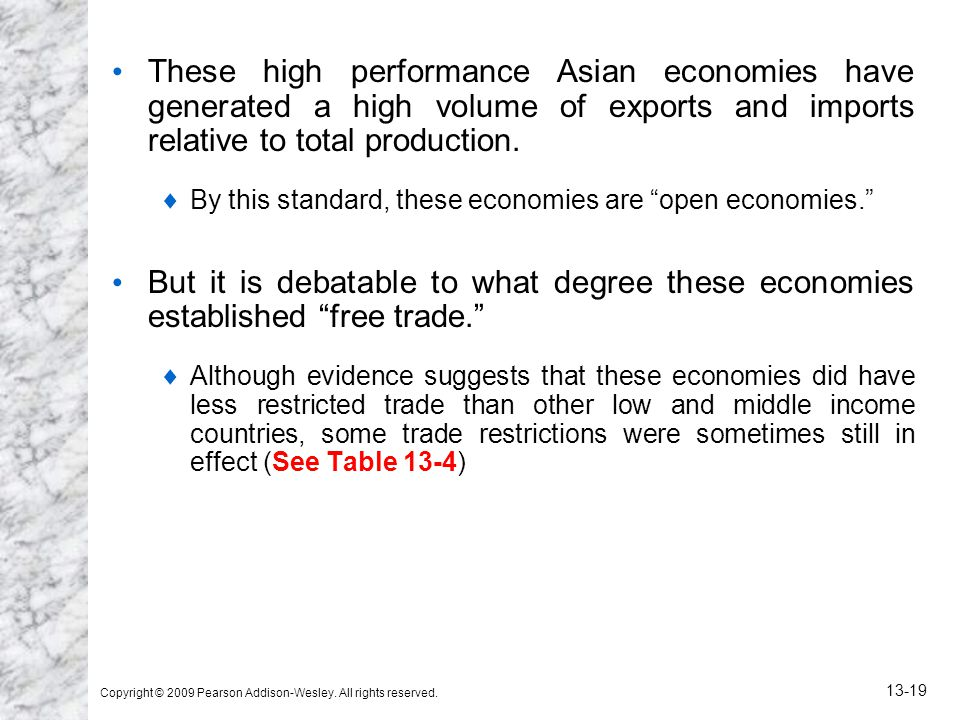 These high performance Asian economies have generated a high volume of exports and imports relative to total production.