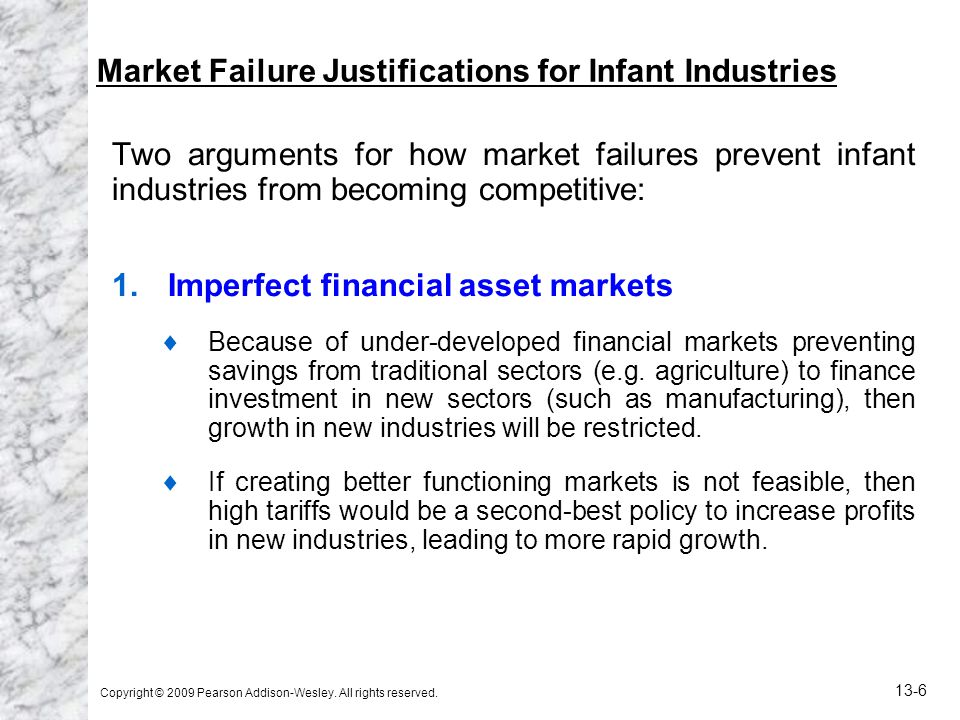 Market Failure Justifications for Infant Industries
