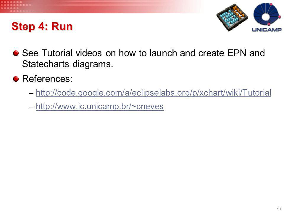 Step 4: Run See Tutorial videos on how to launch and create EPN and Statecharts diagrams. References:
