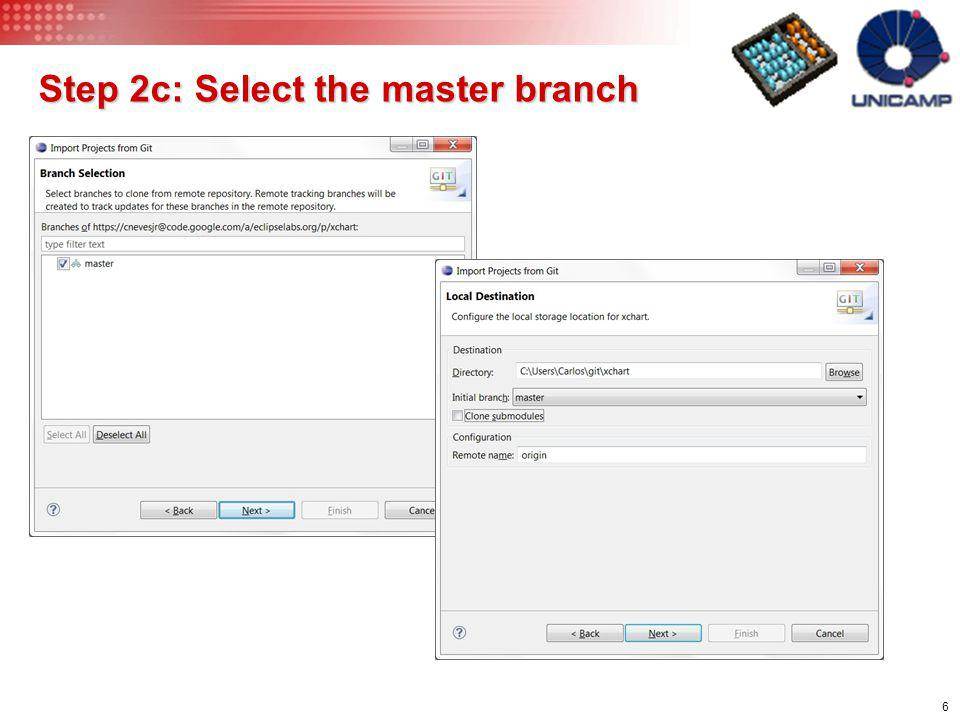 Step 2c: Select the master branch