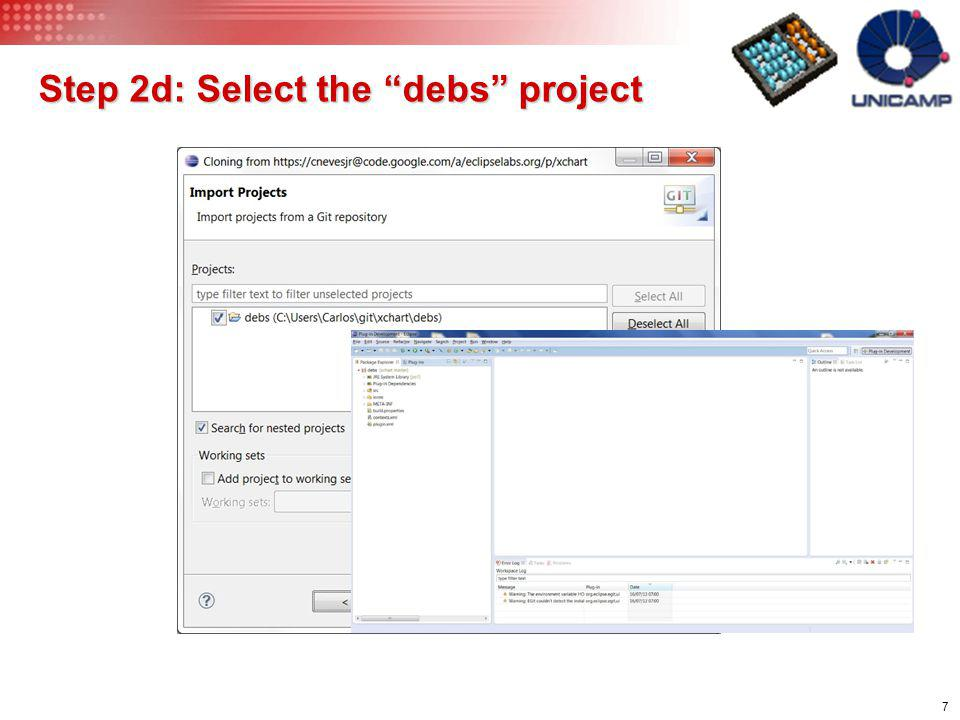 Step 2d: Select the debs project