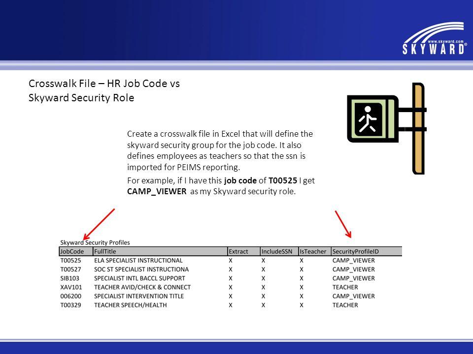 Crosswalk File – HR Job Code vs Skyward Security Role